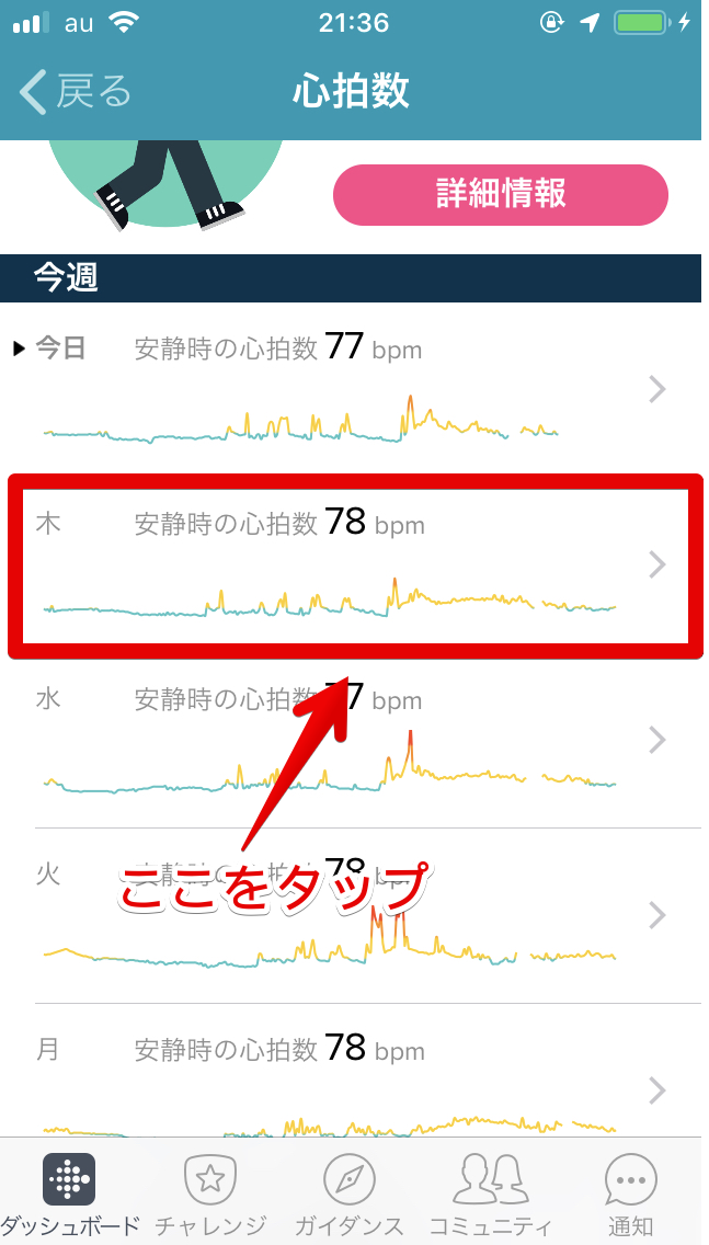 Fitbitアプリの心拍数表示画面3
