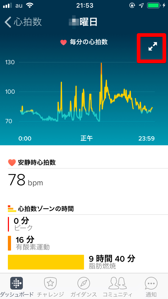 Fitbitアプリの心拍数表示画面5