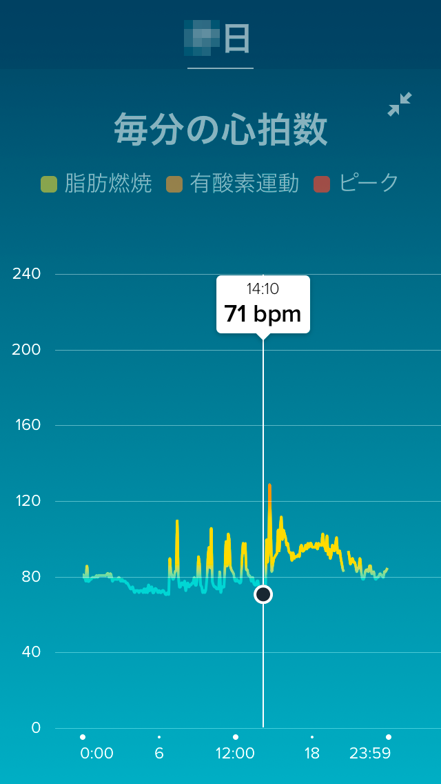 Fitbitアプリの心拍数表示画面6