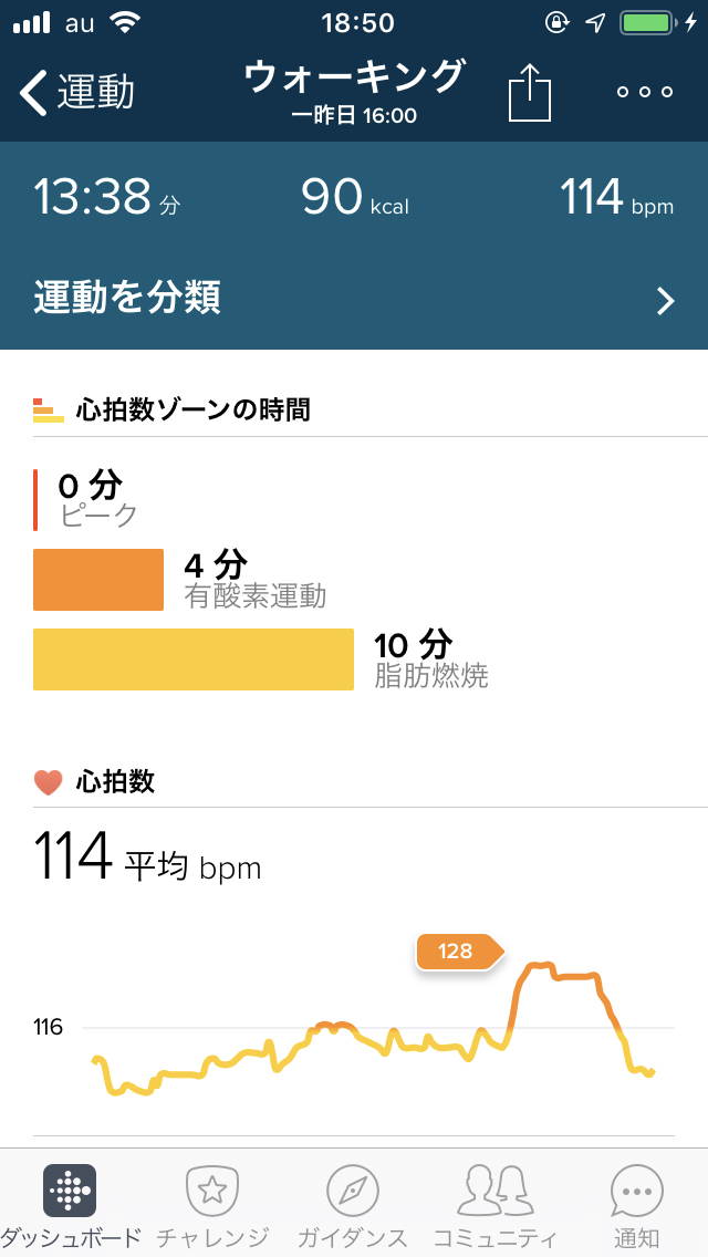 Fitbitアプリの運動表示画面