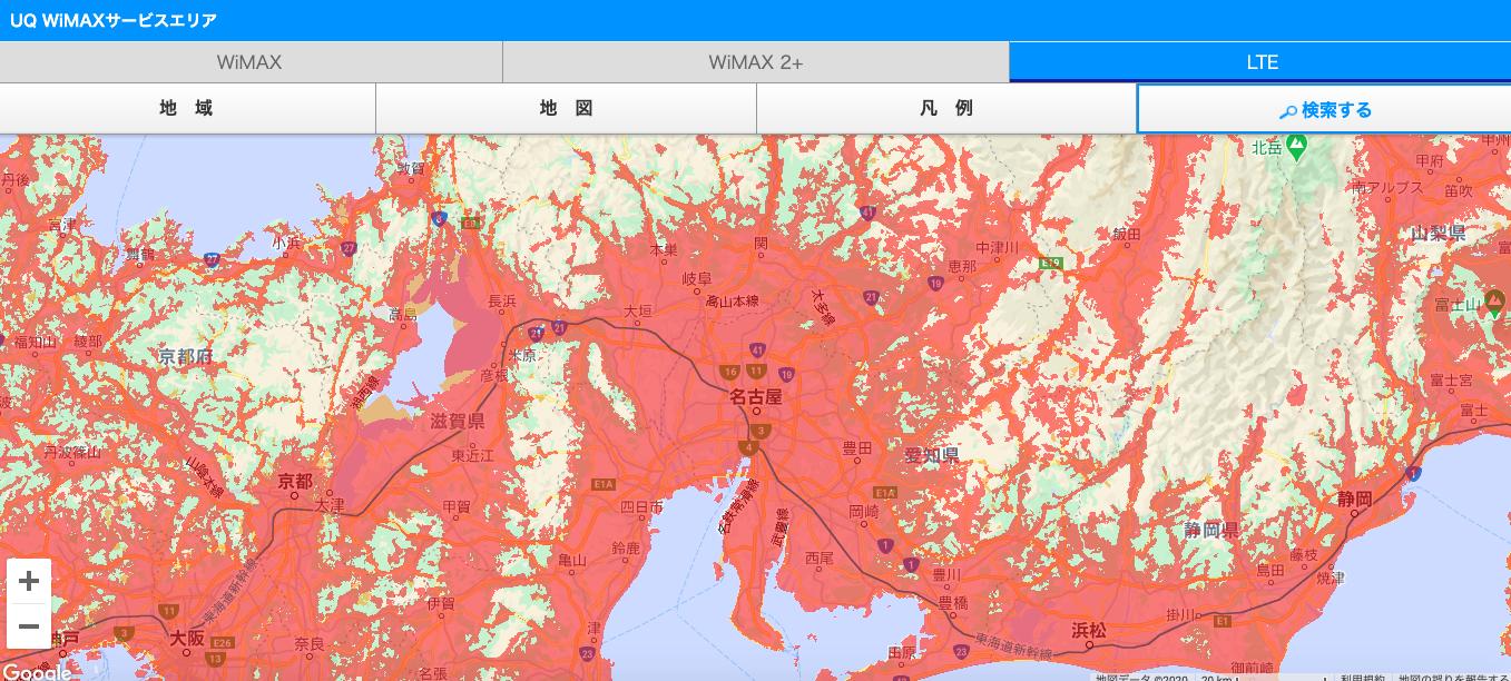 au 4G LTE利用エリア_名古屋周辺