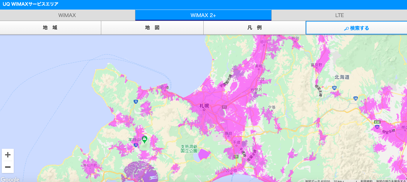 WiMAX利用エリア_札幌周辺