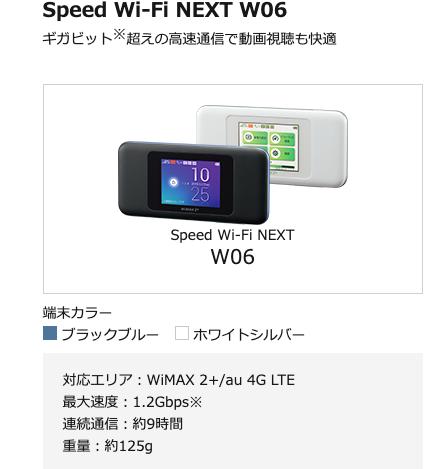 WiMAXで使用されるルーター端末W06のスペック表
