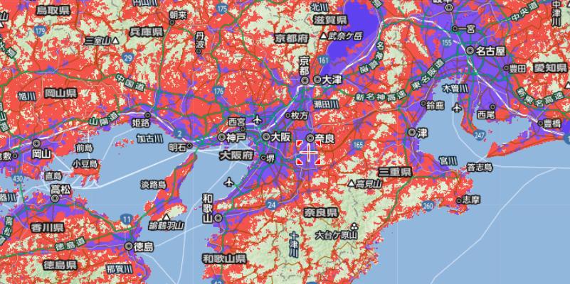 ワイモバイルの大阪周辺のサービスエリア